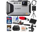 Panasonic Lumix DMC-TS5 Shock & Waterproof Wi-Fi GPS Digital Camera (Silver) with 32GB Card + Helmet & Handlebar Mounts + Battery + Case + Flex Tripod + Accesso