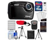 Coleman Xtreme2 C12WP Shock & Waterproof Digital Camera with HD Video (Black) with 16GB Card + Case + Batteries & Charger + 2 Tripods + Accessory Kit