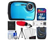 Coleman Xtreme2 C12WP Shock & Waterproof Digital Camera with HD Video (Blue) with 16GB Card + Case + Tripod + Accessory Kit