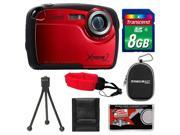 Coleman Xtreme2 C12WP Shock & Waterproof Digital Camera with HD Video (Red) with 8GB Card + Case + Tripod + Accessory Kit