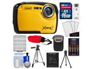 Coleman Xtreme2 C12WP Shock & Waterproof Digital Camera with HD Video (Yellow) with 16GB Card + Case + Batteries & Charger + 2 Tripods + Accessory Kit