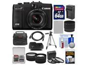 Canon PowerShot G16 Wi-Fi Digital Camera (Black) with 64GB Card + Case + Battery/Charger + Tripod + HDMI Cable + Tele/Wide Lens Kit