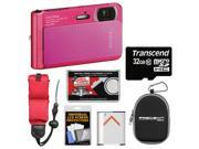 Sony Cyber-Shot DSC-TX30 Shock & Waterproof Digital Camera (Pink) with 32GB Card + Battery + Case + Floating Strap + Accessory Kit