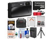 Sony Cyber-Shot DSC-TX30 Shock & Waterproof Digital Camera (Black) with 32GB Card + Case + Floating Strap + Battery & Charger + Flex Tripod + Kit