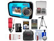 Coleman Duo 2V7WP Dual Screen Shock & Waterproof Digital Camera (Blue) with 16GB Card & Reader + Batteries & Charger + Case + Float Strap + Tripod + Kit
