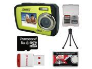 Coleman Duo 2V7WP Dual Screen Shock & Waterproof Digital Camera (Green) with 8GB Card & Reader + Accessory Kit