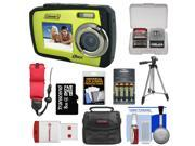 Coleman Duo 2V7WP Dual Screen Shock & Waterproof Digital Camera (Green) with 8GB Card & Reader + Batteries & Charger + Case + Float Strap + Tripod + Accessory K