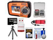 Coleman Duo 2V7WP Dual Screen Shock & Waterproof Digital Camera (Orange) with 8GB Card & Reader + Float Strap + Flex Tripod + Accessory Kit
