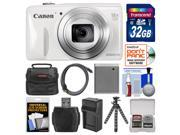 Canon PowerShot SX600 HS Wi-Fi Digital Camera (White) with 32GB Card + Case + Battery & Charger + Flex Tripod Kit
