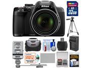 Nikon Coolpix P530 Digital Camera (Black) with 32GB Card + Battery & Charger + Case + Tripod + Flash/LED Light + Kit