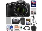 Nikon Coolpix P530 Digital Camera (Black) with 64GB Card + Battery & Charger + Case + Tripod + Accessory Kit