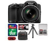 Nikon Coolpix L830 Digital Camera (Black) with 8GB Card + Case + Flex Tripod + Accessory Kit