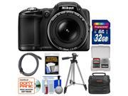Nikon Coolpix L830 Digital Camera (Black) with 32GB Card + Case + Tripod + HDMI Cable + Kit