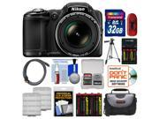 Nikon Coolpix L830 Digital Camera (Black) with 32GB Card + Case + 8 Batteries & Charger + Tripod + HDMI Cable + Kit