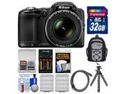 Nikon Coolpix L830 Digital Camera (Black) with 32GB Card + Backpack + Batteries & Charger + Flex Tripod Kit