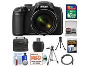 Nikon Coolpix P600 Wi-Fi Digital Camera (Black) with 16GB Card + Case + Tripods + HDMI Cable + Kit