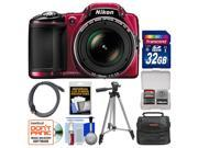 Nikon Coolpix L830 Digital Camera (Red) with 32GB Card + Case + Tripod + HDMI Cable + Kit