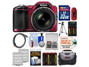 Nikon Coolpix L830 Digital Camera (Red) with 32GB Card + Case + 8 Batteries & Charger + Tripod + HDMI Cable + Kit