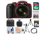 Nikon Coolpix P600 Wi-Fi Digital Camera (Red) with 16GB Card + Case + Tripods + HDMI Cable + Kit
