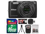 Nikon Coolpix S6800 Wi-Fi Digital Camera (Black) with 16GB Card + Case + Flex Tripod + Accessory Kit