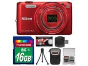 Nikon Coolpix S6800 Wi-Fi Digital Camera (Red) with 16GB Card + Case + Flex Tripod + Accessory Kit