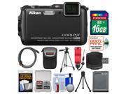 Nikon Coolpix AW120 Shock & Waterproof Wi-Fi GPS Digital Camera (Black) with 16GB Card + Case + Battery + Tripod + Float Strap + Kit