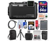 Nikon Coolpix AW120 Shock & Waterproof Wi-Fi GPS Digital Camera (Black) with 64GB Card + Case + Battery/Charger + Flex Tripod + Float Strap + Kit