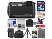 Nikon Coolpix AW120 Shock & Waterproof Wi-Fi GPS Digital Camera (Black) with 32GB Card + Case + Battery + Tripod + Strap + Suction Cup & Car Dashboard Mount Kit