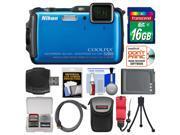 Nikon Coolpix AW120 Shock & Waterproof Wi-Fi GPS Digital Camera (Blue) with 16GB Card + Case + Battery + Flex Tripod + Accessory Kit