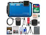 Nikon Coolpix AW120 Shock & Waterproof Wi-Fi GPS Digital Camera (Blue) with 16GB Card + Case + Battery + Tripod + Float Strap + Kit