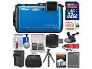 Nikon Coolpix AW120 Shock & Waterproof Wi-Fi GPS Digital Camera (Blue) with 32GB Card + Case + Battery + Tripod + Strap + Suction Cup & Car Dashboard Mount Kit