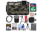 Nikon Coolpix AW120 Shock & Waterproof Wi-Fi GPS Digital Camera (Camouflage) with 16GB Card + Case + Battery + Tripod + Float Strap + Kit
