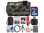 Nikon Coolpix AW120 Shock & Waterproof Wi-Fi GPS Digital Camera (Camouflage) with 32GB Card + Case + Battery + Flex Tripod + Float Strap + Kit