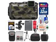 Nikon Coolpix AW120 Shock & Waterproof Wi-Fi GPS Digital Camera (Camouflage) with 32GB Card + Cases + Battery + Tripod + Strap + Handlebar & Helmet Mount Kit
