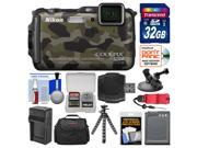 Nikon Coolpix AW120 Shock & Waterproof Wi-Fi GPS Digital Camera (Camouflage) with 32GB Card + Case + Battery + Tripod + Strap + Suction Cup & Car Dashboard Moun