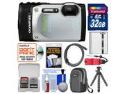 Olympus Tough TG-850 iHS Shock & Waterproof Digital Camera (Silver) with 32GB Card + Case + Battery + Flex Tripod + Float Strap + Accessory Kit