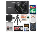 Sony Cyber-Shot DSC-W830 Digital Camera (Black) with 16GB Card + Case + Battery + Flex Tripod + Accessory Kit
