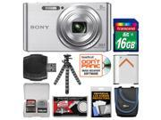 Sony Cyber-Shot DSC-W830 Digital Camera (Silver) with 16GB Card + Case + Battery + Flex Tripod + Accessory Kit
