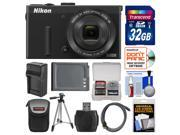 Nikon Coolpix P340 Wi-Fi Digital Camera (Black) with 32GB Card + Case + Battery & Charger + Tripod + HDMI Cable + Accessory Kit