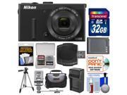 Nikon Coolpix P340 Wi-Fi Digital Camera (Black) with 32GB Card + Case + Flash + Battery & Charger + Tripod + Accessory Kit