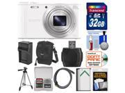 Sony Cyber-Shot DSC-WX350 Digital Camera (White) with 32GB Card + Case + Battery/Charger + Tripod + HDMI Cable Kit