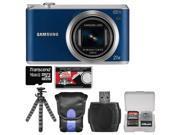 Samsung WB350 Smart Wi-Fi Digital Camera (Blue) with 16GB Card + Case + Flex Tripod + Accessory Kit