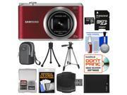 Samsung WB350 Smart Wi-Fi Digital Camera (Red) with 32GB Card + Case + Battery + Tripod Kit