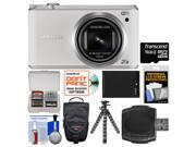 Samsung WB350 Smart Wi-Fi Digital Camera (White) with 16GB Card + Case + Battery + Flex Tripod + Accessory Kit