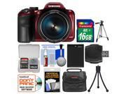 Samsung WB1100F Smart Wi-Fi Digital Camera (Red) with 16GB Card + Case + Battery + Tripod + Accessory Kit