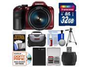 Samsung WB1100F Smart Wi-Fi Digital Camera (Red) with 32GB Card + Case + Battery + Tripod + Accessory Kit