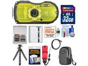 Ricoh WG-4 Shock & Waterproof Digital Camera (Lime Yellow) with 32GB Card + Battery + Case + Floating Strap + Tripod + Accessory Kit