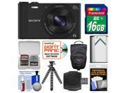 Sony Cyber-Shot DSC-WX350 Digital Camera (Black) with 16GB Card + Case + Battery + Flex Tripod + Accessory Kit