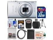 Canon PowerShot Elph 340 HS Wi-Fi Digital Camera (Silver) with 32GB Card + Case + Battery + Tripod + HDMI Cable + Kit