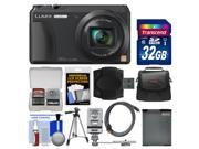 Panasonic Lumix DMC-ZS35 Wi-Fi Digital Camera (Black) with 32GB Card + Case + Flash + Battery + Tripod + Kit